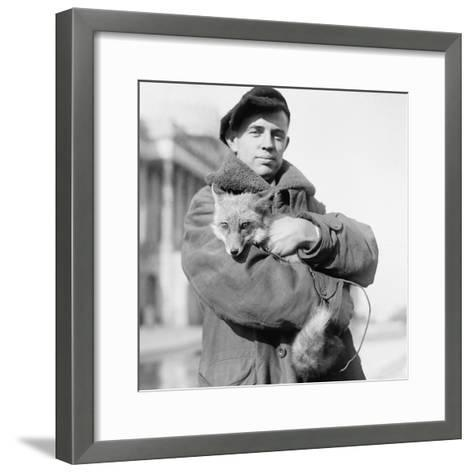 Portrait of a Man Holding His Pet Fox in Washington DC, 1918--Framed Art Print