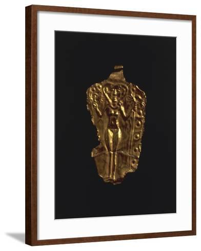 Gold Pendant with Stylized Figure of a Goddess, Artefact from Ugarit--Framed Art Print