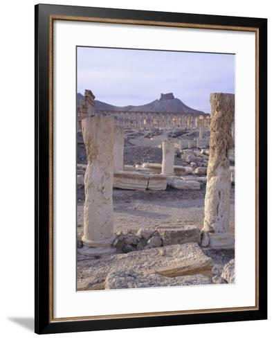 Syria, Palmyra, View of Ruins with Umayyad Fortress in Background--Framed Art Print