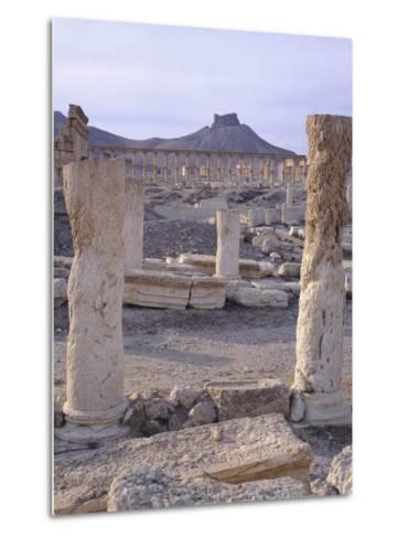 Syria, Palmyra, View of Ruins with Umayyad Fortress in Background--Metal Print