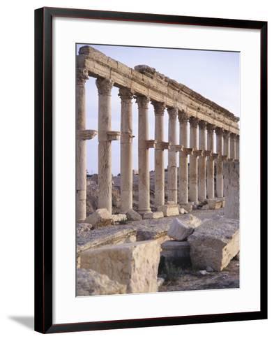 Syria, Palmyra, Colonnaded Street Near Roman Theater--Framed Art Print