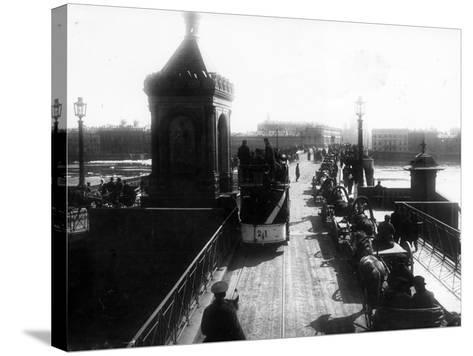 Crossing the Nicholas Bridge from Vasilievsky Island, St Petersburg, 1903--Stretched Canvas Print
