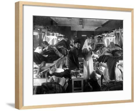 Nurses Tending the Wounded on a Red Cross Train, C.1915--Framed Art Print