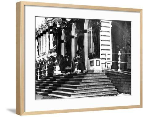 The Russian Imperial Family on the Steps of Catherine Palace, C.1912--Framed Art Print
