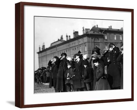 Saint Petersburg Residents Watching a Full Solar Eclipse, 1912--Framed Art Print