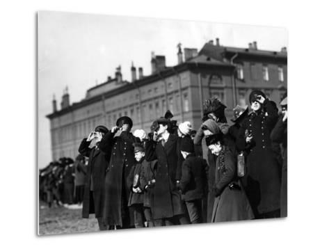 Saint Petersburg Residents Watching a Full Solar Eclipse, 1912--Metal Print