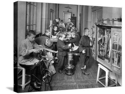 Woodwork Class at a Primary School in St. Petersburg--Stretched Canvas Print