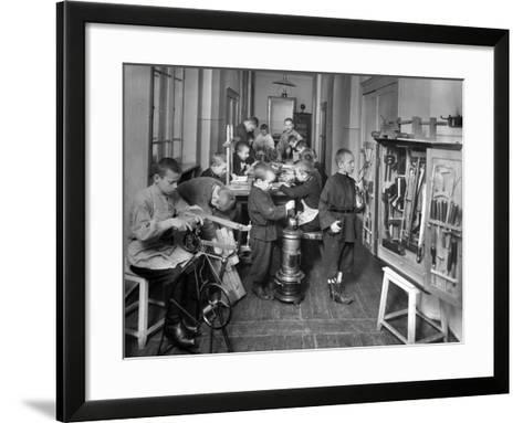 Woodwork Class at a Primary School in St. Petersburg--Framed Art Print