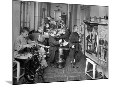 Woodwork Class at a Primary School in St. Petersburg--Mounted Photographic Print