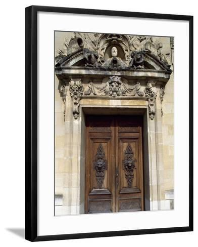 Door with Decorative Relief, Palace of Fontainebleau--Framed Art Print