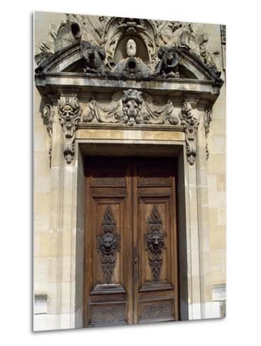 Door with Decorative Relief, Palace of Fontainebleau--Metal Print