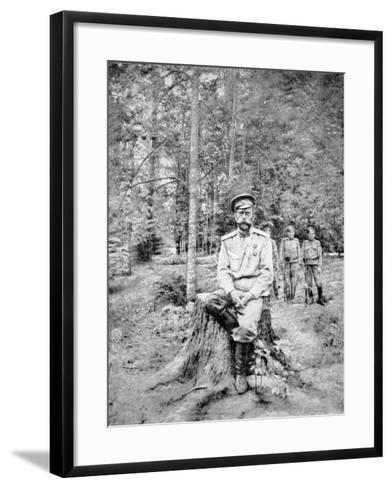 Tsar Nicholas II in Bolshevik Captivity at Tsarskoye Selo in 1917--Framed Art Print