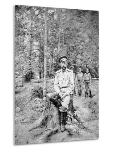 Tsar Nicholas II in Bolshevik Captivity at Tsarskoye Selo in 1917--Metal Print