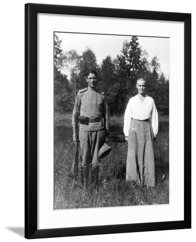 Grand Duchess Maria with a Guard, Alexander Park, Tsarskoye Selo--Framed Art Print