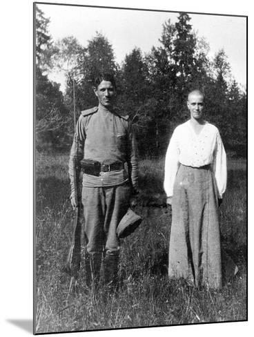 Grand Duchess Maria with a Guard, Alexander Park, Tsarskoye Selo--Mounted Photographic Print