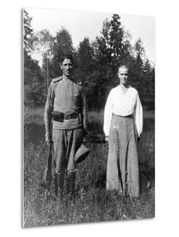 Grand Duchess Maria with a Guard, Alexander Park, Tsarskoye Selo--Metal Print