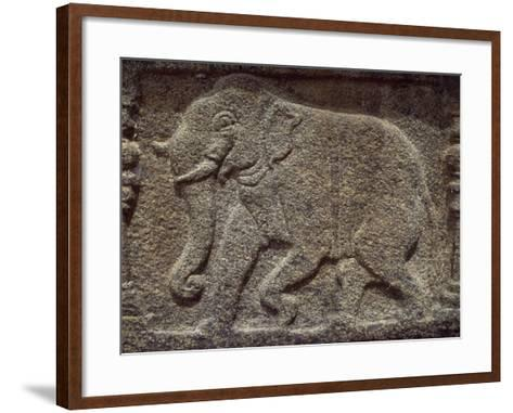 Sri Lanka, Polonnaruwa, Vatadage, Relief Showing Elephant in Courtroom--Framed Art Print