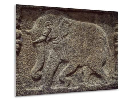 Sri Lanka, Polonnaruwa, Vatadage, Relief Showing Elephant in Courtroom--Metal Print