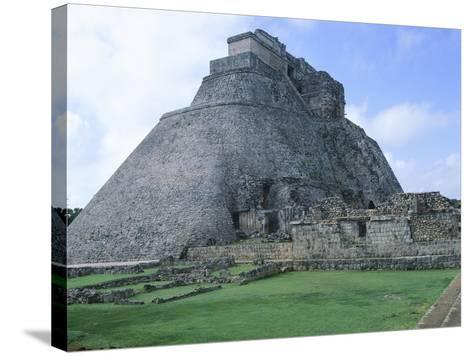 The Pyramid of the Magician, Puuc Style Building in Uxmal--Stretched Canvas Print