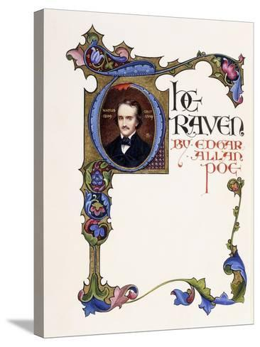 Illuminated Title Page from the Book 'The Raven' by Edgar Allan Poe-Alberto Sangorski-Stretched Canvas Print