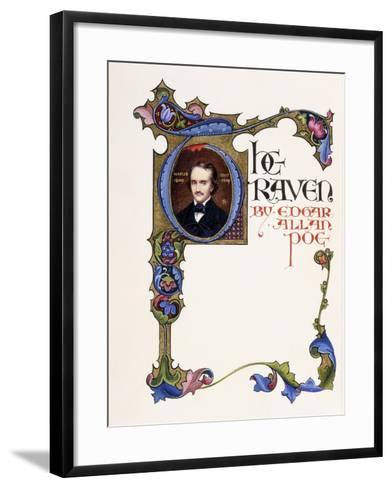 Illuminated Title Page from the Book 'The Raven' by Edgar Allan Poe-Alberto Sangorski-Framed Art Print