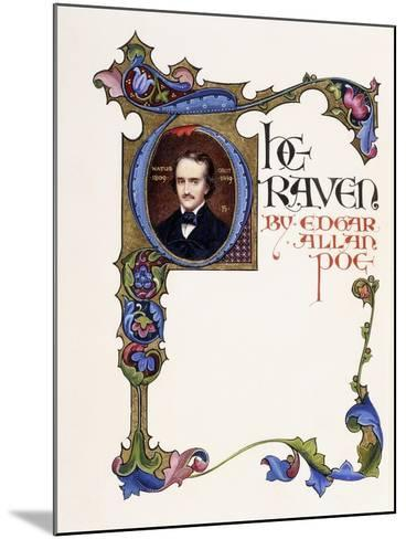 Illuminated Title Page from the Book 'The Raven' by Edgar Allan Poe-Alberto Sangorski-Mounted Giclee Print