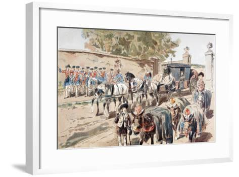 A Post-Chaise Entering a Walled Compound and Passing Between a Band and a Donkey Train, 1886-Armand Jean Heins-Framed Art Print