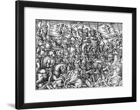Battle of Grunwald or First Battle of Tannenberg, Between Polish-Lithuanian and Teutonic Knights-Bartholomew Paprocki-Framed Art Print