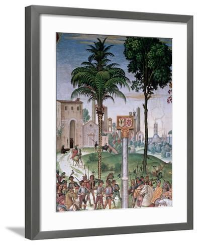 View of Siena with the Cathedral and Porta Camollia-Bernardino di Betto Pinturicchio-Framed Art Print