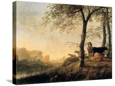 Evening River Landscape with a Cowherd and Cows by the Edge of a Copse, a Bridge and Ruins Beyond-Abraham van Calraet-Stretched Canvas Print