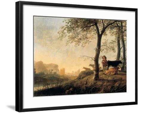 Evening River Landscape with a Cowherd and Cows by the Edge of a Copse, a Bridge and Ruins Beyond-Abraham van Calraet-Framed Art Print