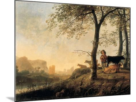 Evening River Landscape with a Cowherd and Cows by the Edge of a Copse, a Bridge and Ruins Beyond-Abraham van Calraet-Mounted Giclee Print
