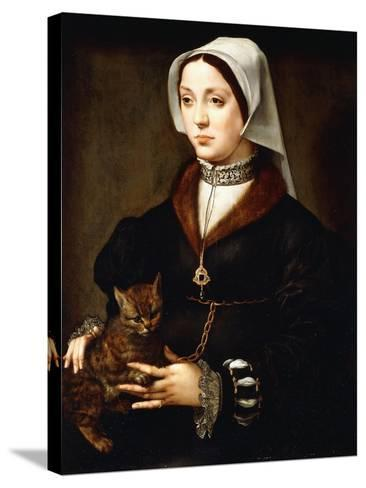 Portrait of a Lady, Three-Quarter-Length, Wearing Dark Costume, Holding a Cat-Ambrosius Benson-Stretched Canvas Print