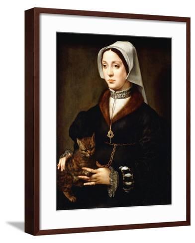 Portrait of a Lady, Three-Quarter-Length, Wearing Dark Costume, Holding a Cat-Ambrosius Benson-Framed Art Print