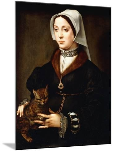 Portrait of a Lady, Three-Quarter-Length, Wearing Dark Costume, Holding a Cat-Ambrosius Benson-Mounted Giclee Print