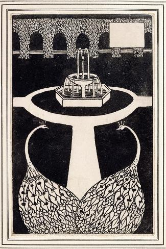 Chapter Heading Depicting Two Peacocks in a Garden with a Fountain, C.1893/4-Aubrey Beardsley-Stretched Canvas Print