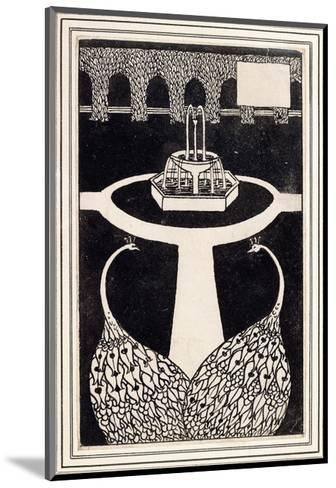 Chapter Heading Depicting Two Peacocks in a Garden with a Fountain, C.1893/4-Aubrey Beardsley-Mounted Giclee Print