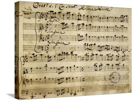 Sheet Music of the Oratorio of Saint John the Baptist-Alessandro Stradella-Stretched Canvas Print