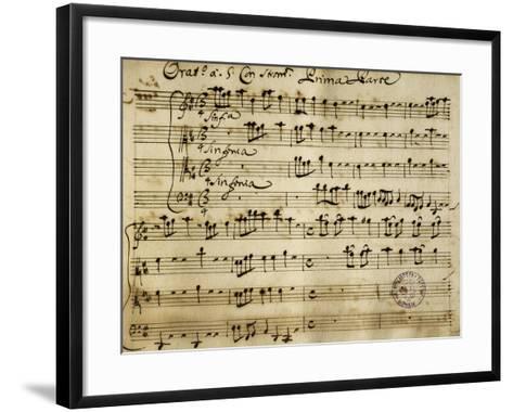 Sheet Music of the Oratorio of Saint John the Baptist-Alessandro Stradella-Framed Art Print