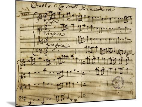 Sheet Music of the Oratorio of Saint John the Baptist-Alessandro Stradella-Mounted Giclee Print