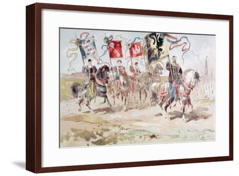 Horsemen Carrying Banners of the Hanseatic League and of Towns Belonging to the League-Armand Jean Heins-Framed Art Print