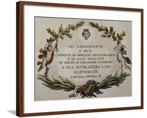 Title Page of Six Songs for Two Voices with Dedication to Lady Glenorci, Opera IV-Carl Philipp Emanuel Bach-Framed Art Print
