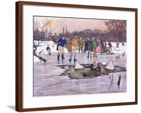 A Face, Head and Shoulders, Emerged from Beneath the Water-Cecil Aldin-Framed Art Print