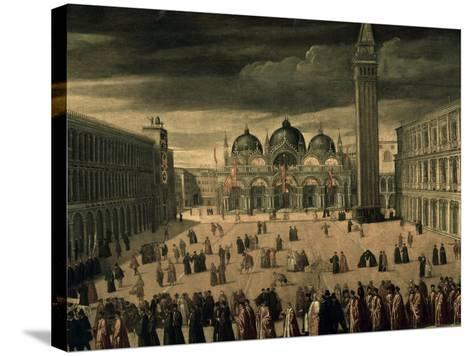 Procession of Doge and His Entourage in Piazza San Marco in Venice-Cesare Vecellio-Stretched Canvas Print