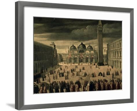 Procession of Doge and His Entourage in Piazza San Marco in Venice-Cesare Vecellio-Framed Art Print