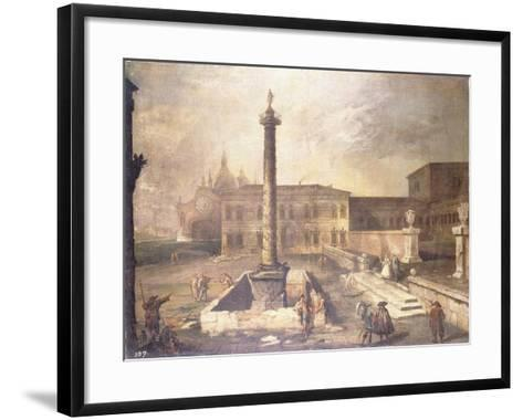 A Capriccio of a Piazza in Front of a Palace with the Column of Marcus Aurelius-Canaletto-Framed Art Print