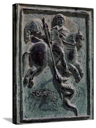 St. George and Dragon, Tile Carved in Bronze, Detail from Central Entrance, Cira 1185-Barisano Da Trani-Stretched Canvas Print