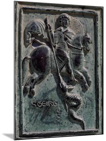 St. George and Dragon, Tile Carved in Bronze, Detail from Central Entrance, Cira 1185-Barisano Da Trani-Mounted Giclee Print