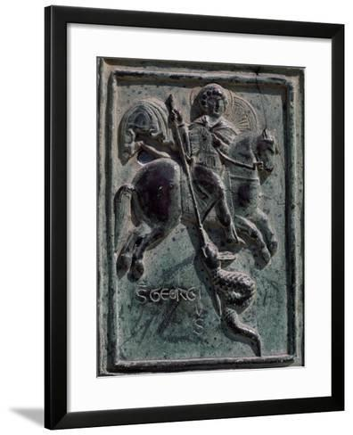 St. George and Dragon, Tile Carved in Bronze, Detail from Central Entrance, Cira 1185-Barisano Da Trani-Framed Art Print