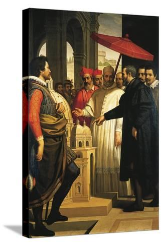 Michelangelo Presenting the Model for the Completion of St Peter's to Pope Pius IV, 1618-1619-Domenico Cresti-Stretched Canvas Print